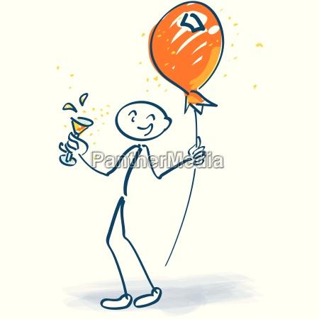 strichmaennchen mit sektglas und luftballon am