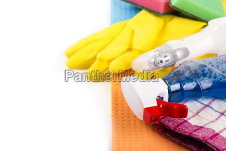 house cleaning products and equipment with