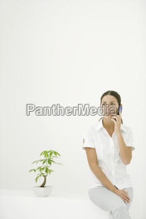 frau neben topfpflanze sitzt handy