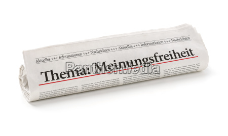 newspaper roll with the heading freedom