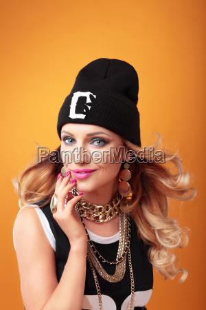 hip hop woman in cap