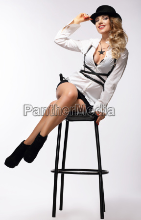 beautiful woman on a chair
