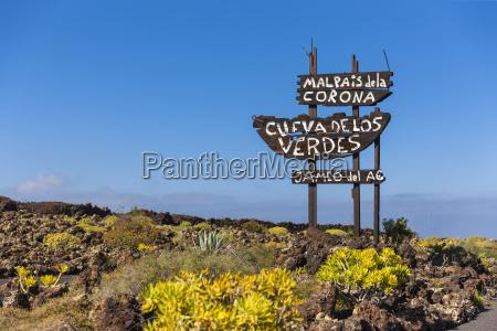 spain canary islands lanzarote signpost malpais