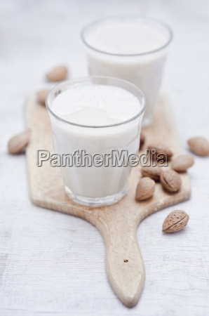 two glasses of homemade almond milk