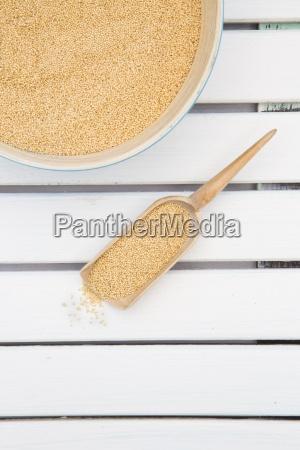 bamboo bowl and wooden shovel of