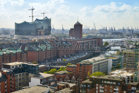 germany hamburg cityscape with speicherstadt and