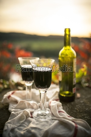 bottle of red wine and two