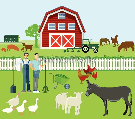 farmer and agriculture with animals