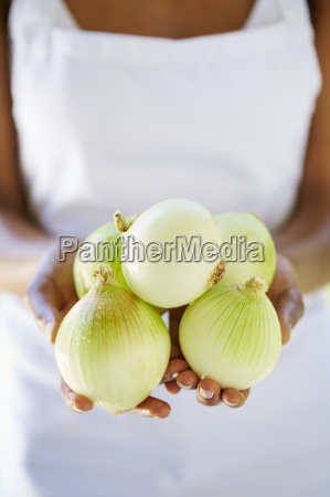 womans hands holding onions