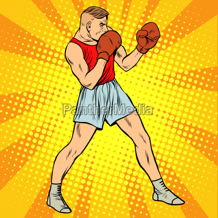retro boxer in fighting stance