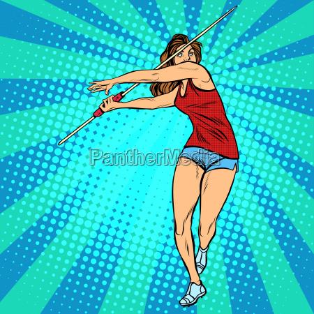 girl athlete throwing javelin athletics summer