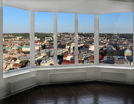 modern window with view of lviv