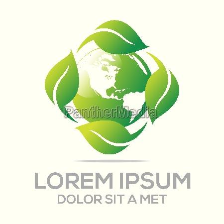 logo abstrakte bio blaetter natur ecologi