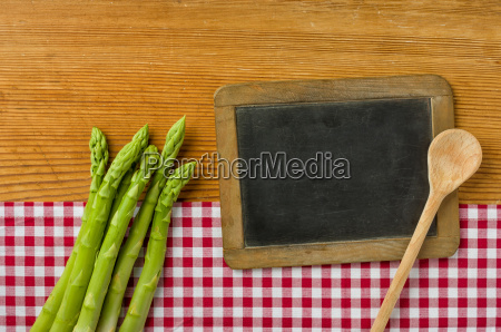 green asparagus with unlabeled panel