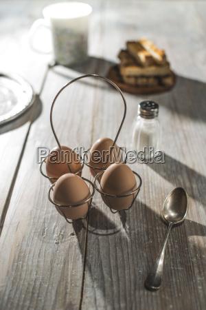 boiled eggs toast and salt