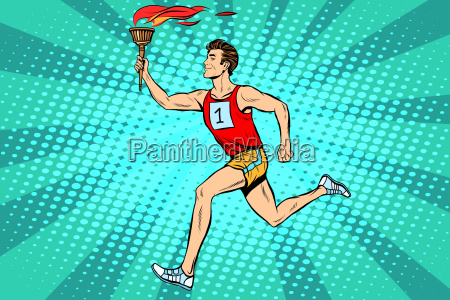 the man athlete torchbearer sports fire