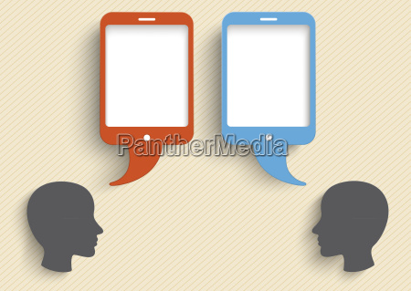vector illustration heads with smart phone