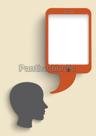 vector illustration head with smart phone