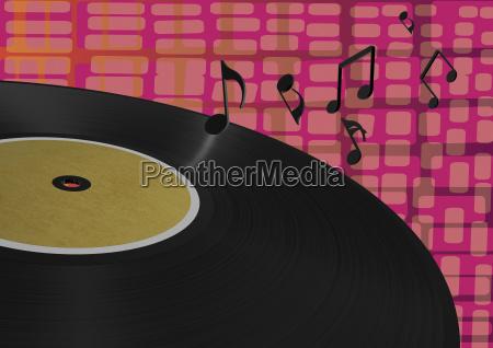 3d rendering vinyl lp mit noten