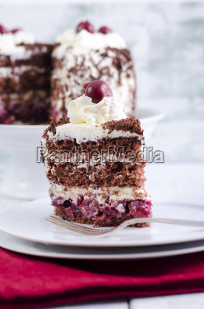 plate with piece of black forest