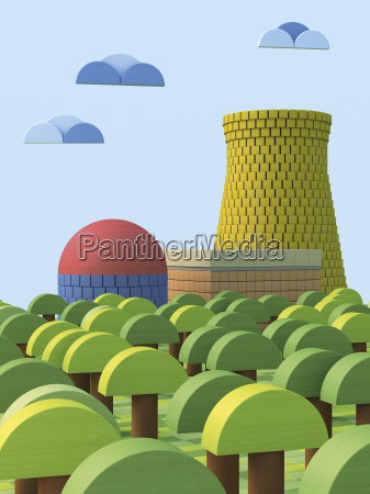 3d rendering nuclear power station from
