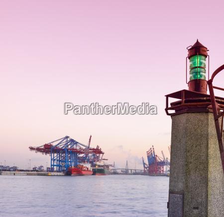 germany hamburg harbor navigation light