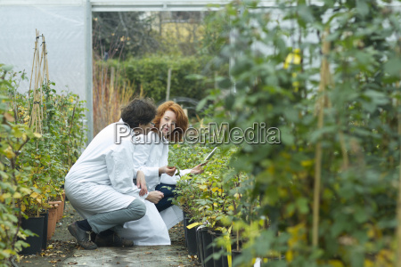two female scientists controlling plants in