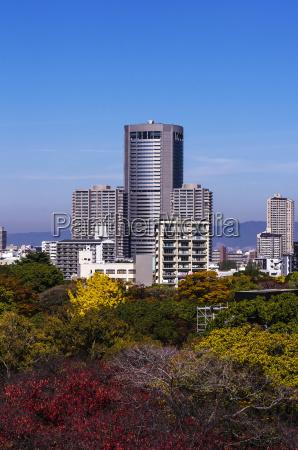 japan osaka high rise buildings as
