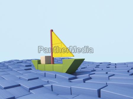 shipping sailing boat made of building
