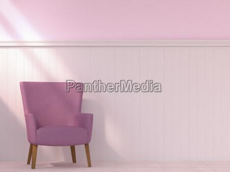 armchair standing in front of wooden