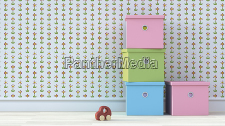 four cardboard boxes and wooden toy
