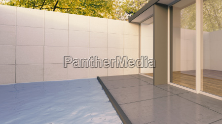 haus gebaeude terrasse bungalow illustration baustil