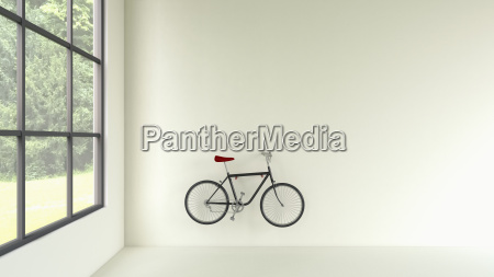 3d rendering of bicycle hanging at