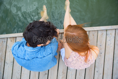 elevated view of young couple sitting
