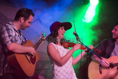 folk band with violin and two