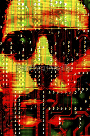 ominous face on circuit board illustration