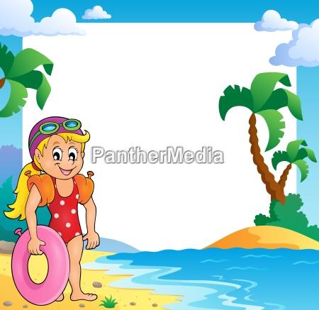strandthemarahmen mit maedchenschwimmer