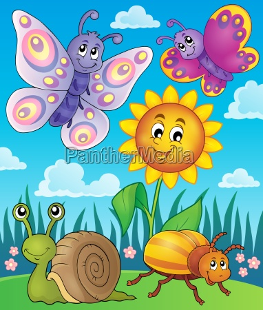 spring animals and insect theme image