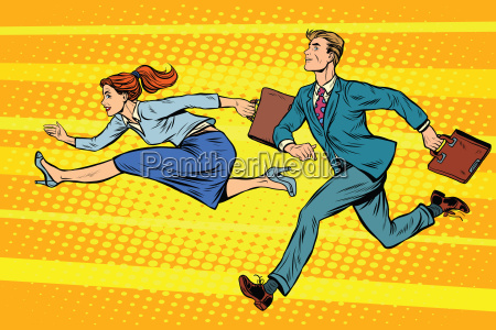 businessman and businesswoman running competition