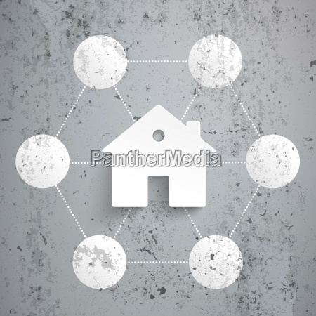 model home connected to spheres vector
