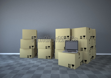 shipping cartons with notebook in a