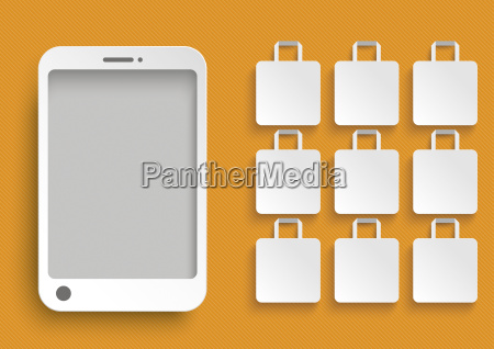 smartphone with white shopping bags against