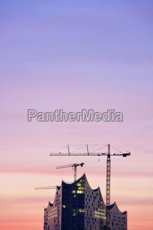 deutschland hamburg elbphilharmonie im morgengrauen