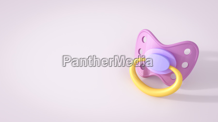 pink pacifier on pink background 3d