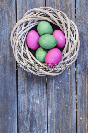 green and pink easter eggs in