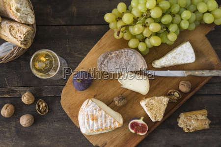 cheese platter with camembert walnut cheese