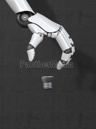 roboterhand bilden kontur einer gluehbirne 3d