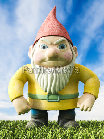 angry garden gnome 3d rendering