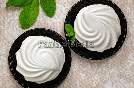 white marshmallow dessert with mint