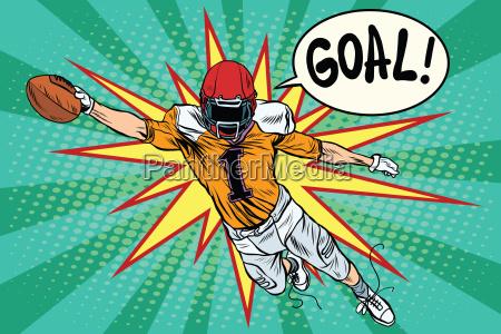 american football athlete ball goal